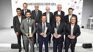 Ehrenpreis der DFL für Matthäus, Overath, Pizarro und Rehhagel