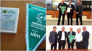 U 19-EURO: Sorg überreicht Spielortplaketten an Heidenheim und Ulm